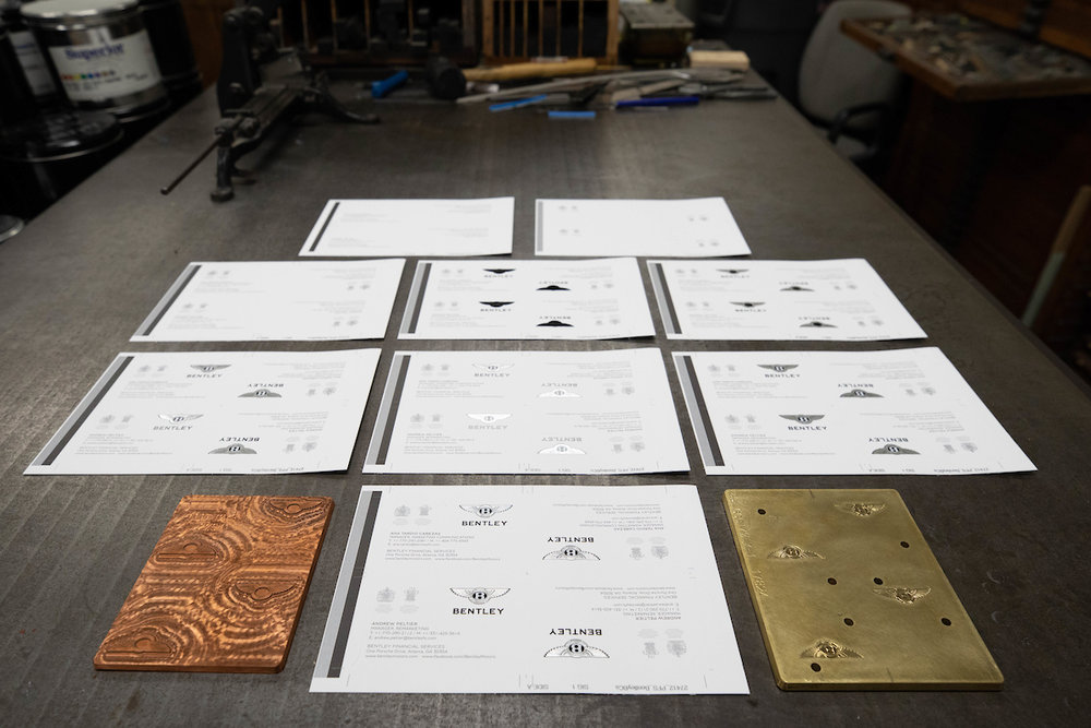 Engraved plates and embossed foil helped Bentley's logo shine