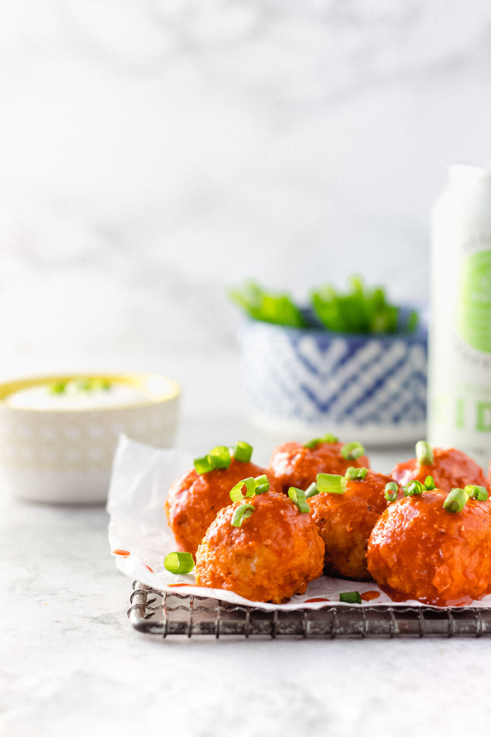 These buffalo chicken meatballs are a great party appetizer or even served as dinner with a side of veggies!