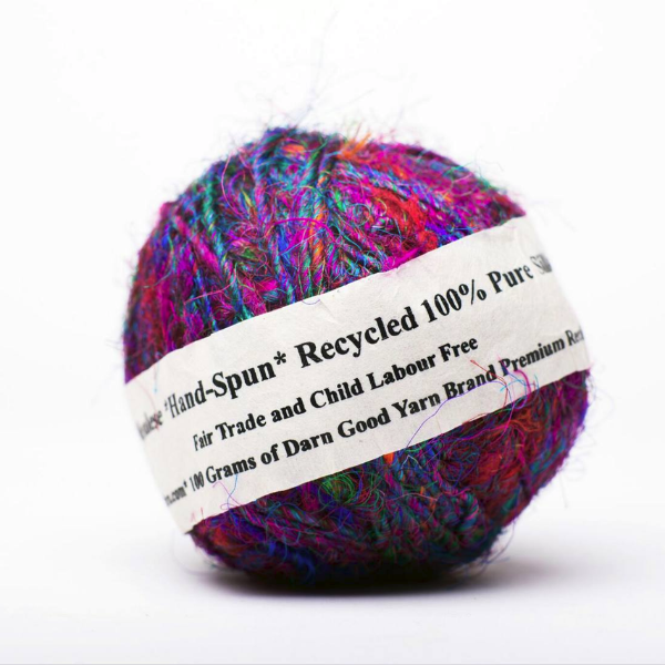 DARN GOOD YARNRecycled Silk Sari - Vibrant, exotic and 100% made from recycled sari silk remnants.WORSTED   90 yds$15.50