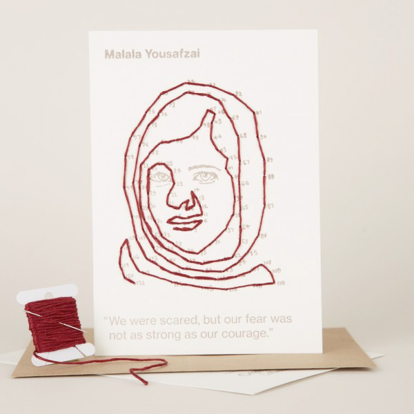 CRAFTIVIST COLLECTIVESTITCHABLE CHANGE-MAKER MALALA YOUSAFZAI - Stitchable dot-to-dots reveal the face of a changemaker ( 4 others available ) All profits go to help sustain and grow the collective's activities to engage people in craftivism and support people to be the change they wish to see in the world.£7.00