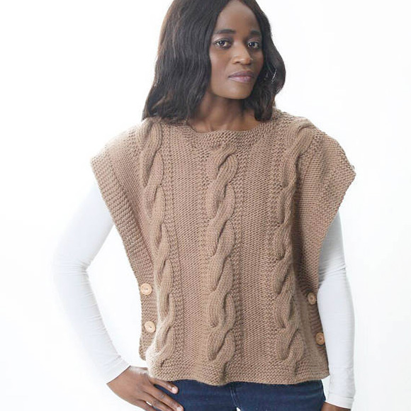BIGGER THAN LIFE KNITSHIghland Poncho - Chunky yarn, basic cables with side buttons to add style. Looks like a wardrobe essential to us.Just one of dozens of cool patterns from new-to-us designer!$5.50