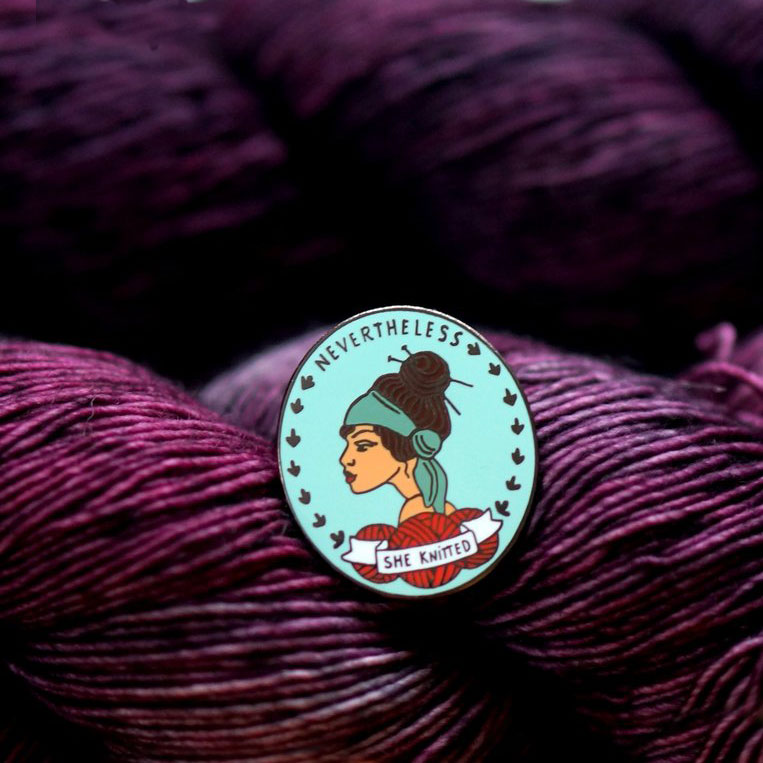 NERD BIRD MAKERYNevertheless She Knitted - YES, you need another pin for your project bag. Enamel pin to proclaim your knitting perseverance ! 1.25