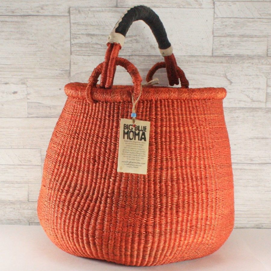 BIG BLUE MOMAPot Basket Large - Orange - Fair-Trade baskets - gorgeous for your stash and bigger projects. All Big Blue Moma baskets are handmade by one of 1000 women and men of the collective they support in Ghana. Approx 12