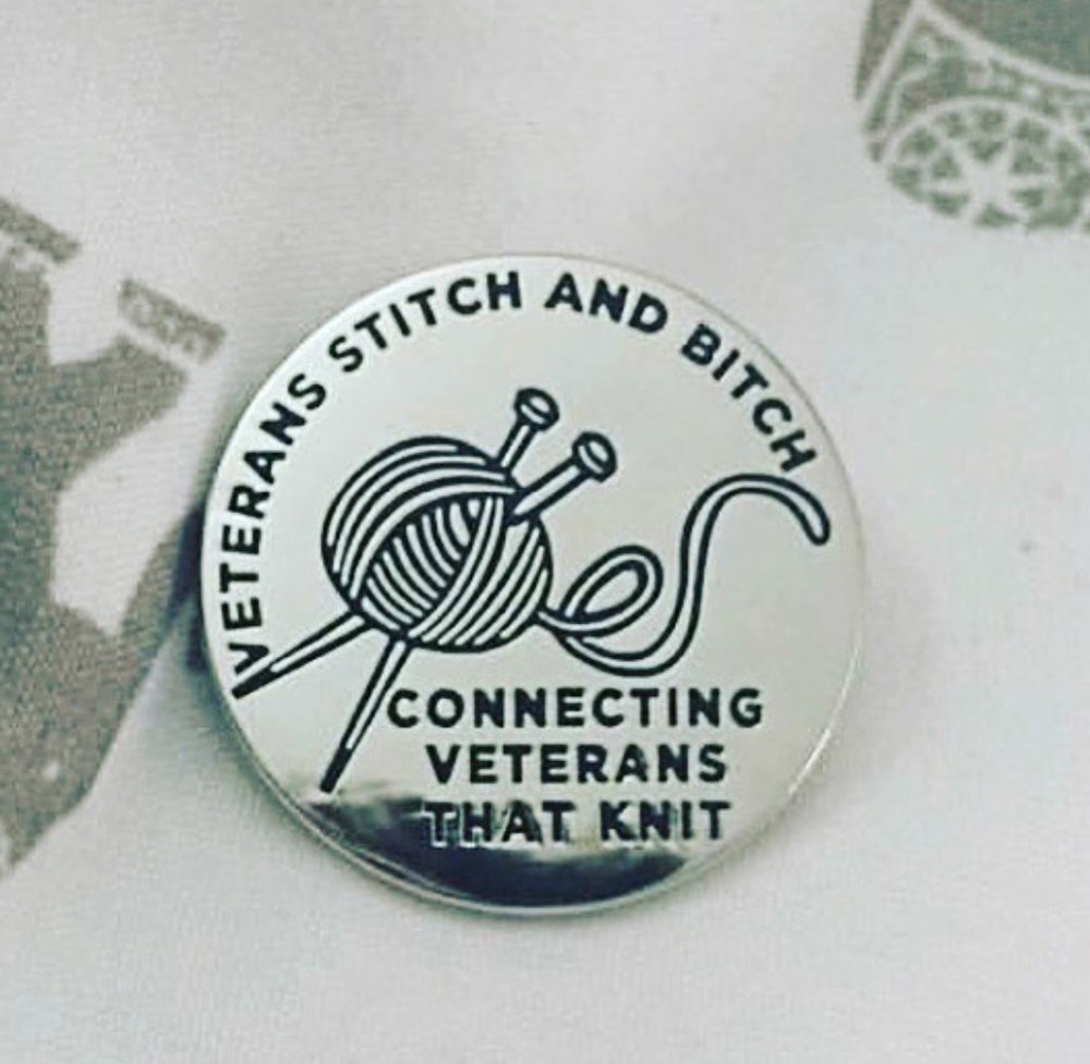 VETERANS STITCH and BITCHEnamel Pin - Support this great group that teaches knitting and gives supplies to active military and veterans. Cool pin from an amazing non-profit founded by the glorious Lindsay.$10.00
