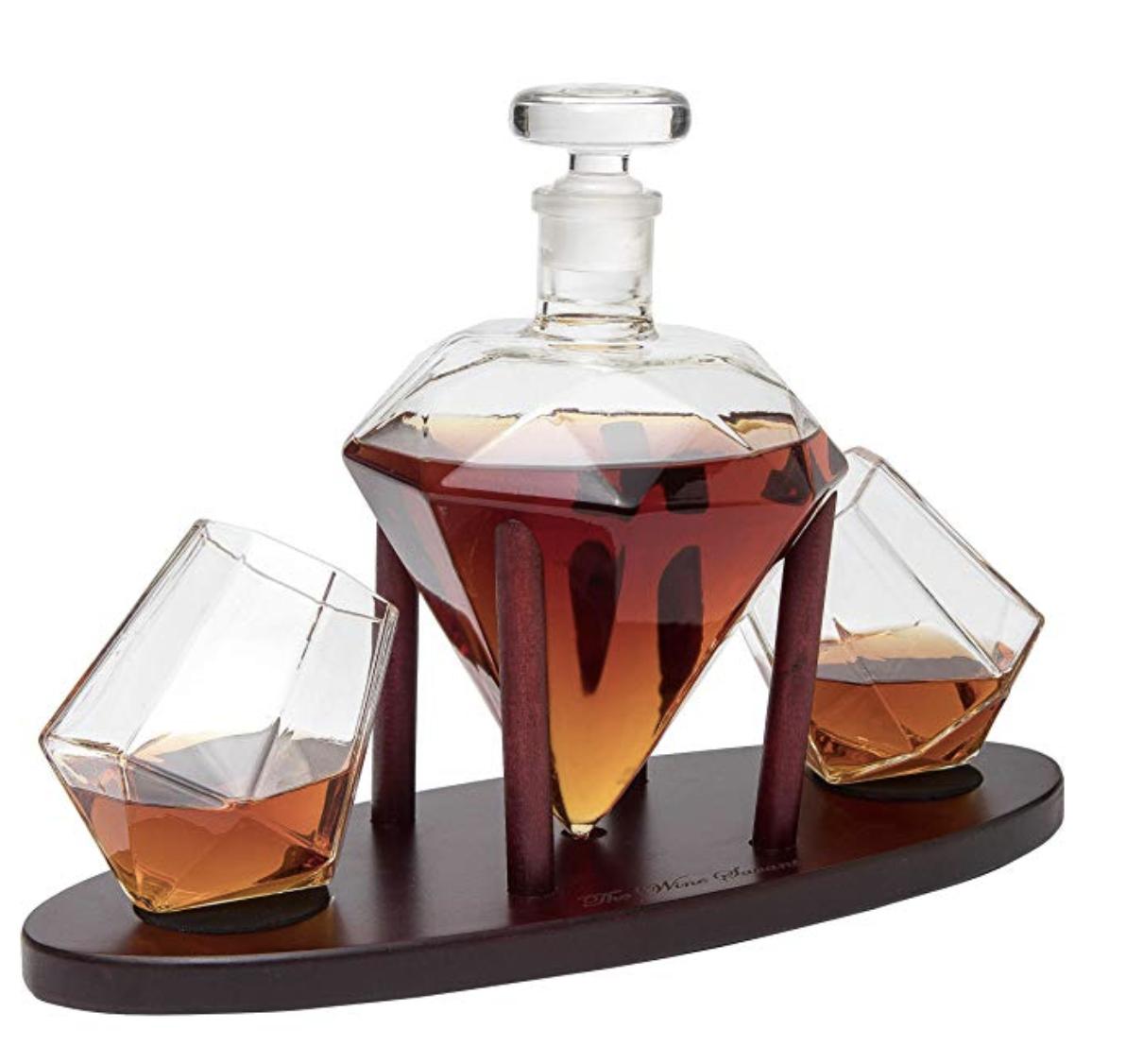 Personalized Diamond Whiskey Decanter with 2 Diamond Glasses — Say Thank U