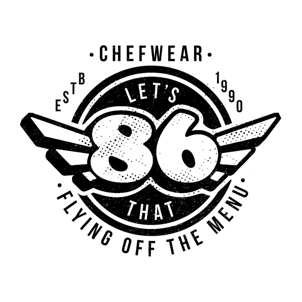 """RUGGED DIRECTION - The """"86"""" is a number often used in kitchens as code for an item running out or not available. I thought the number offered an opportunity to draw inspiration from the old race car and garage graphics that you would often see on side panels or on mechanic's jackets"""