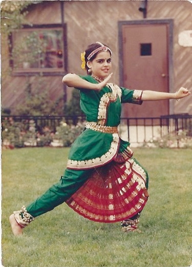 Tyaga at age 12, photographed in front of the temple at New Vrindaban, WV before a Bharat Natyam dance performance.