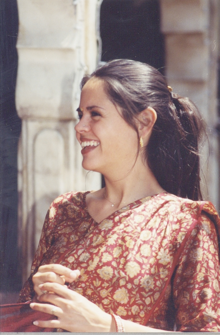 Tyaga in California in early 2000s in Indian dress, believing she's half Indian.