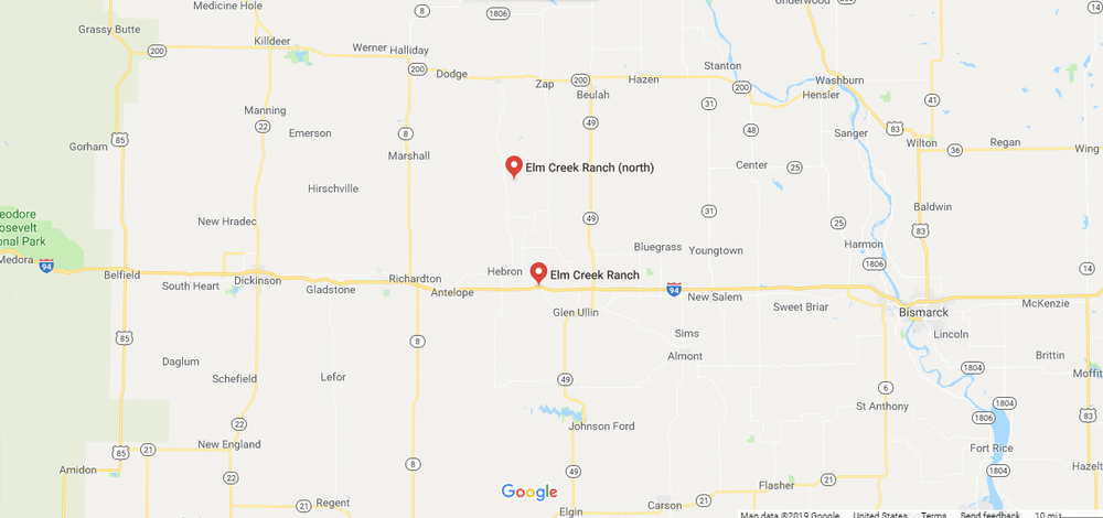 Elm Creek Ranch in North Dakota map.png