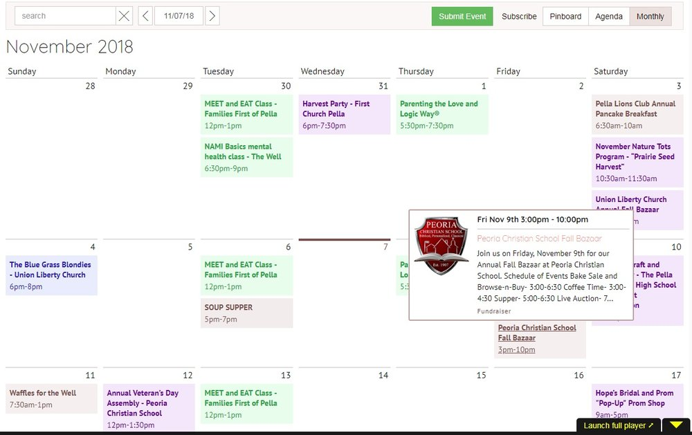 "The third choice is called ""Monthly"" - this is the one that likely looks the most like our old WordPress calendar.  Hovering over an event will make a box pop up with more details.  What's new is all the different colors - with the Tockify calendar we have the ability to ""tag"" events with different categories, like ""Fundraiser,"" ""Community Event,"" ""Kid-Friendly,"" and so on.  The system assigns each tag a different color - in the case of our calendar. green is ""Class/Seminar,"" purple is ""Community Event,"" blue is ""Concert,"" gray is ""Fundraiser,"" and so on."