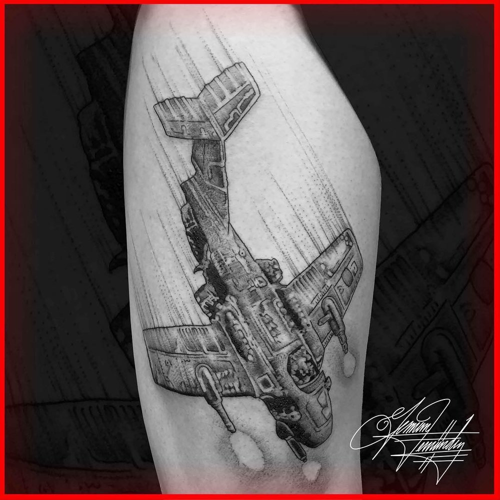 Airplane Tattoo Fighter Jet Stipple Single Needle Flying Black and Grey