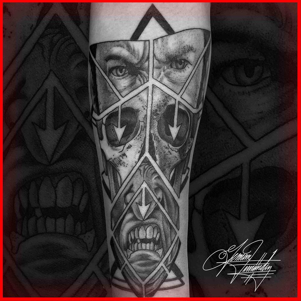 Geometric Skull Face Tattoo Black and Grey
