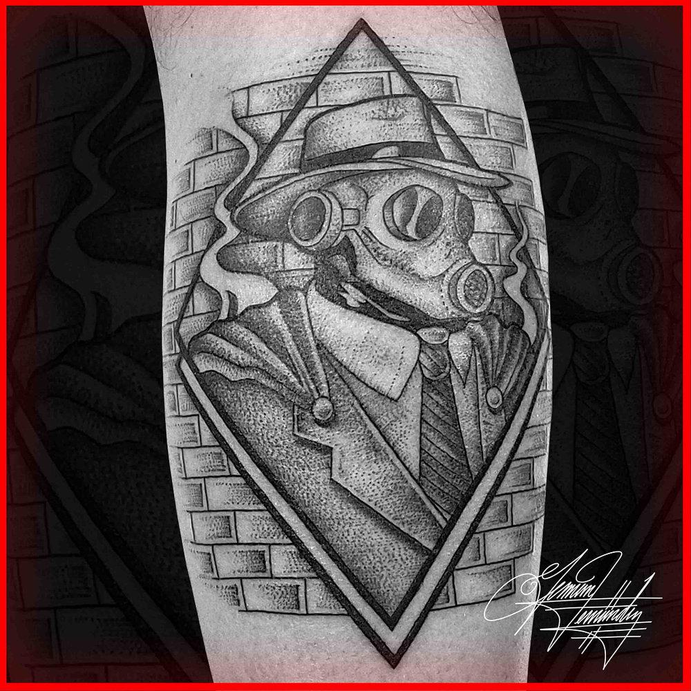 Cartoon Style Black and Grey Stipple Tattoo Dot Work