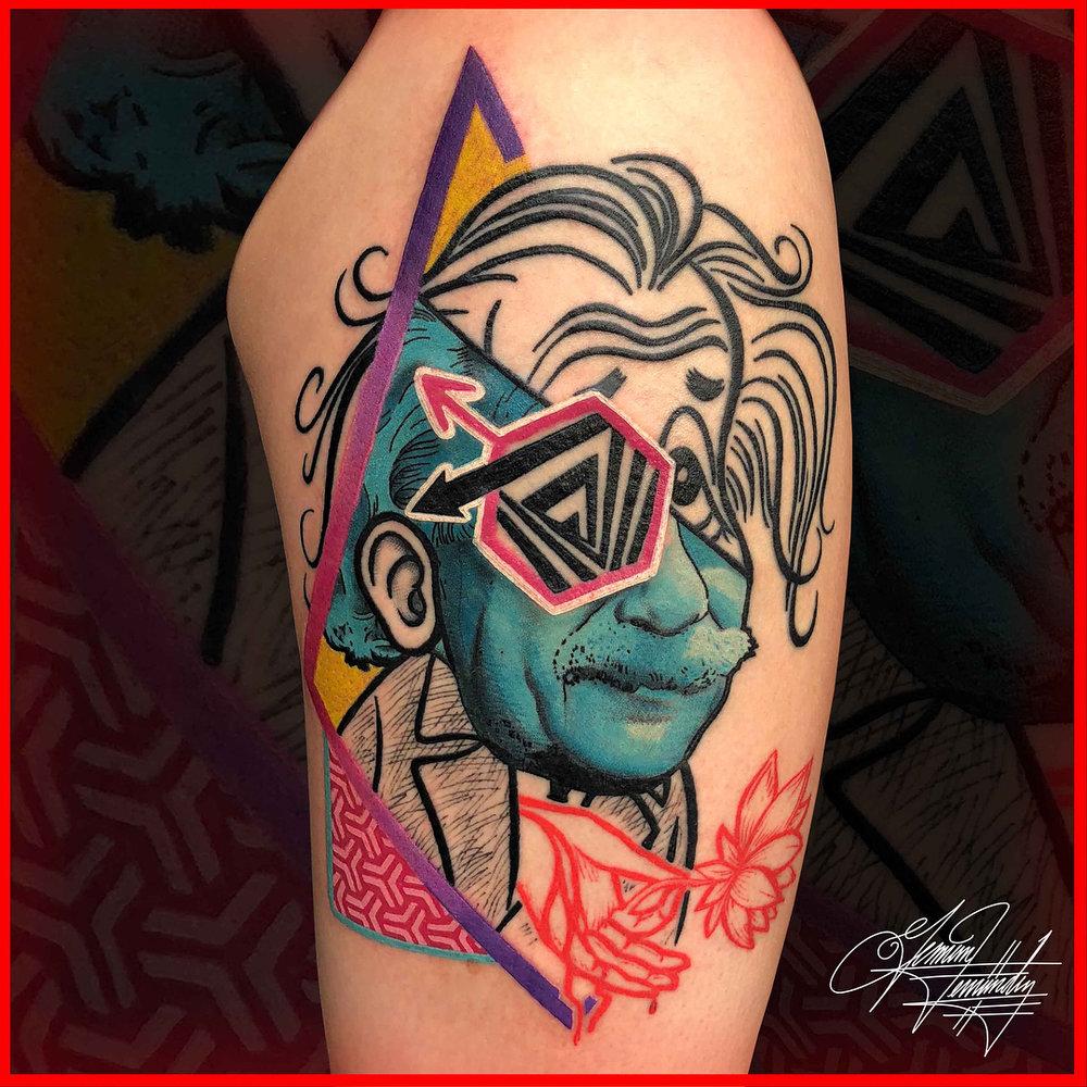 Albert Einstein Abstract Color Illustration Tattoo
