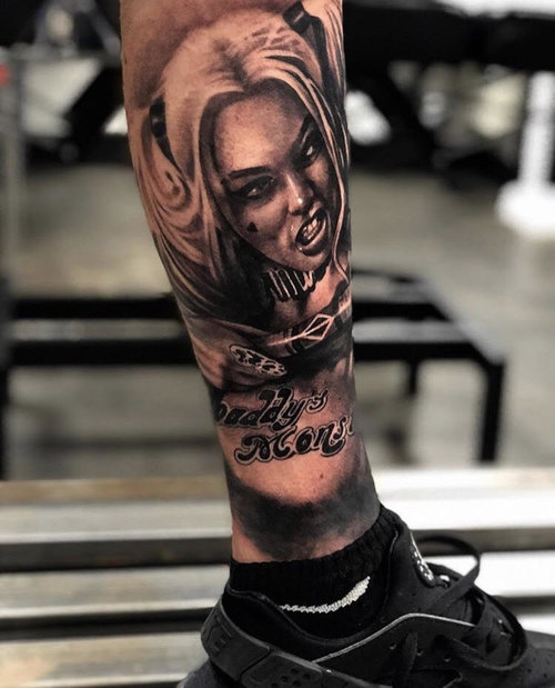 Black and Gray Harley Quinn Tattoo by Cobra+at+Certified+Tattoo+Studios+(4).jpg
