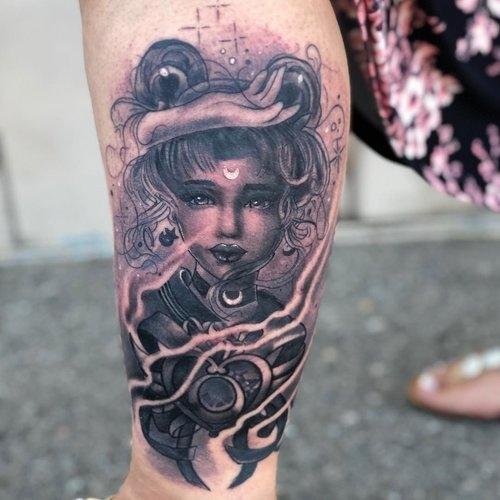 Black and Gray Sailor Moon Tattoo by Cobra at Cerified Tattoo Studios.jpg