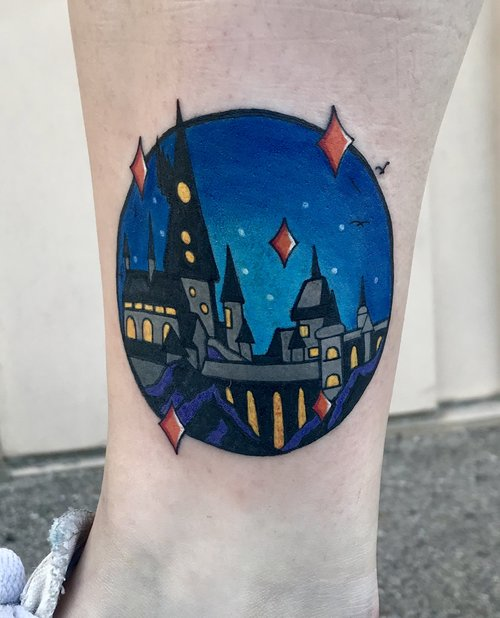 Color Hogwarts Tattoo by Hannah  at Certified Tattoo Studios.jpg