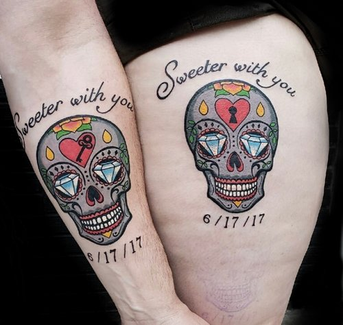 Color Sugar Skulls Tattoo by Camille  at Certified Tattoo Studios.jpg