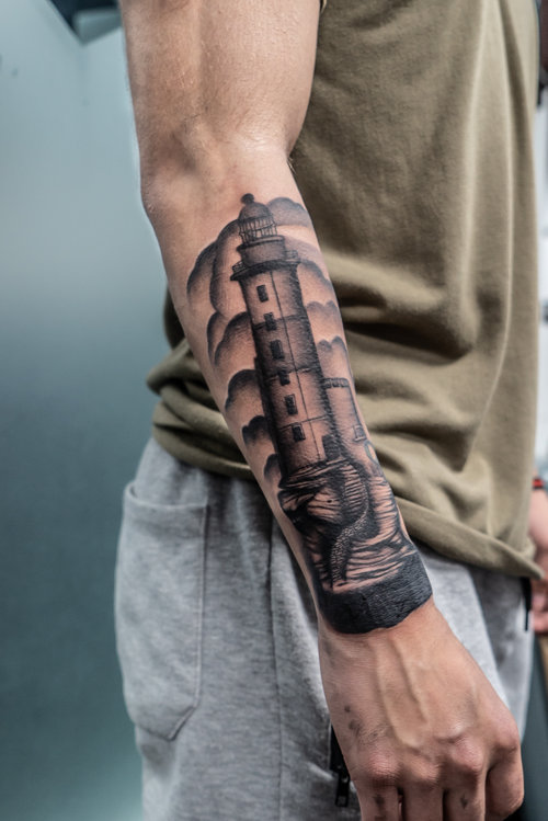 Black and Gray Lighthouse Tattoo by Darious at Certified Tattoo Studios.jpg
