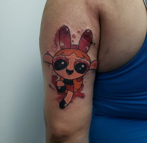 Water Color Power Puff Girls Tattoo by Jeff at Certified Tattoo Studios.jpg