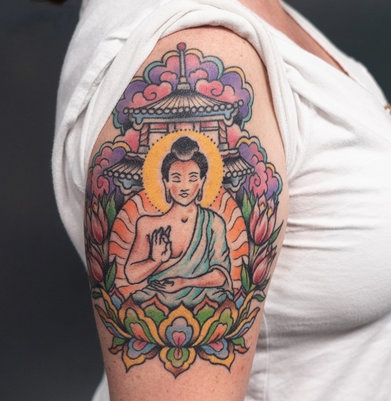 Traditional Buddha Tattoo by Jon Hanna at Certified Tattoo Studios.jpg