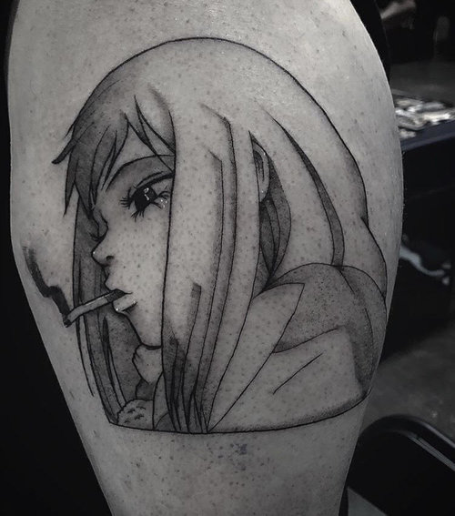 Black and Gray Anime Tattoo by Gabe  at Certified Tattoo Studios Denver Co.jpg