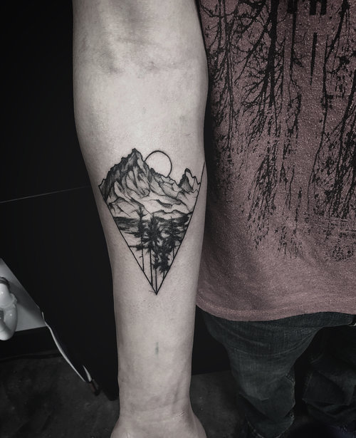 Black and Gray Mountain Tattoo by Gabe  at Certified Tattoo Studios Denver Co.jpg