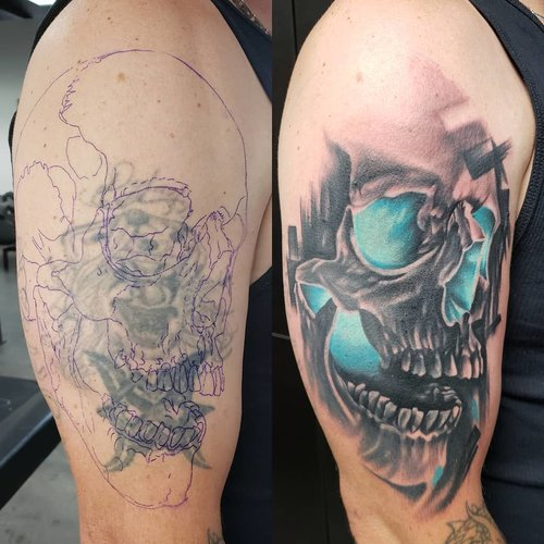 Black and Gray Skull Cover up Tattoo by Piper  at Certified Tattoo Studios Denver Co.jpg