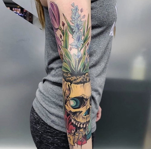 Color Skull Tattoo by Piper  at Certified Tattoo Studios Denver Co.jpg