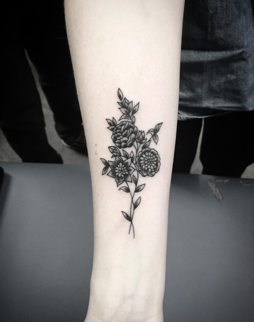 Black and Gray Flowers Tattoo by Spencer at Certified Tattoo Studios Denver Co.jpg