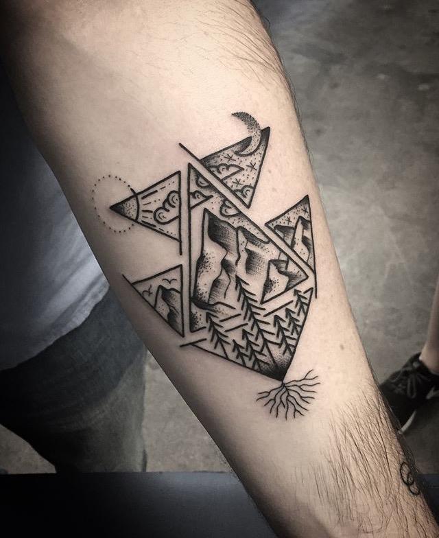 Black Geometric Mountain Tattoo by Spencer at Certified Tattoo Studios Denver, Colorado's Best Tattoo Studio.jpg