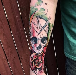 Water+Color+Skull Tattoo++by+Skyleres+Pinoza+@+Certified+Tattoo+Denver+Colorado+0.jpg