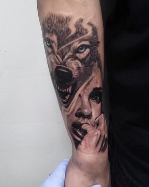 Black and Gray Custom Wolf Tattoo by Bryan Alfaro at Certified Tatto Studios in Denver Co.jpg
