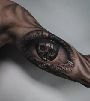 Black and Gray Eye and Skull Tattoo by Bryan Alfaro at Certified Tatto Studios in Denver Co.jpg