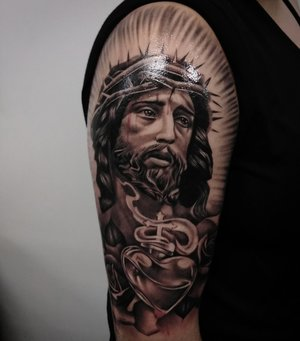 Black and Gray Jesus Tattoo by Bryan Alfaro at Certified Tatto Studios in Denver Co.jpg