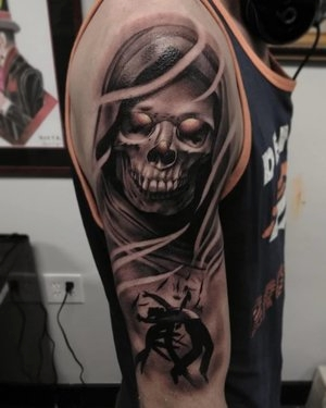 Black and Gray Skull Tattoo by Bryan Alfaro at Certified Tatto Studios in Denver Co.jpg