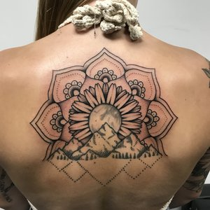 Custom B&G Mandala FlowerTattoo by Shane Rogers at Certified Customs Tattoo Studios Denver.jpg