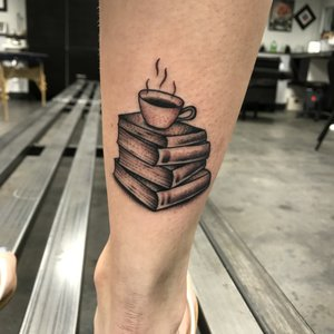 Custom Coffee and Books  tattoo by Shane Rogers at Certified Customs Denver Co.jpg