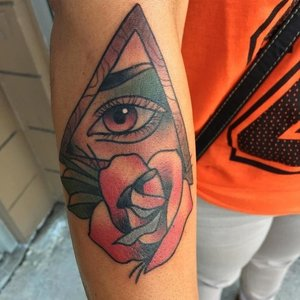 Custom Color Eye in Pyramid Tattoo by Shane Rogers at Certified Customs Tattoo Studios Denver.jpg