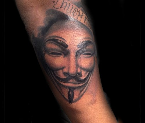 Custom Black and Gray V for Vendetta Tattoo by Greg at Certified Tattoo Studios Denver Co.jpg