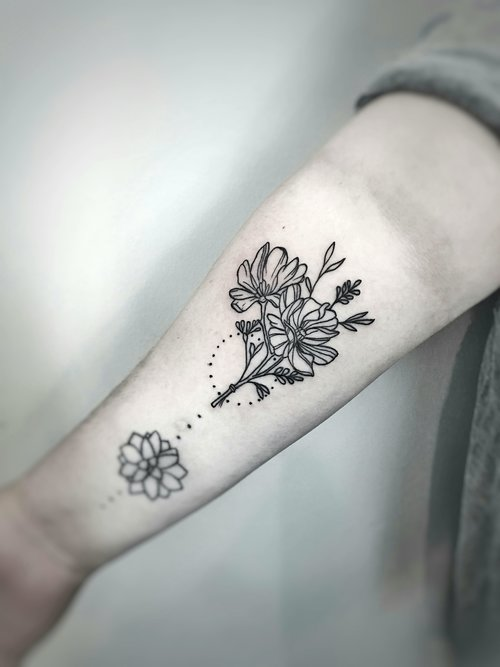 Custom Black and Gray Flower Tattoo by Dani at Certified Tattoo Studios Denver Co (2).jpg