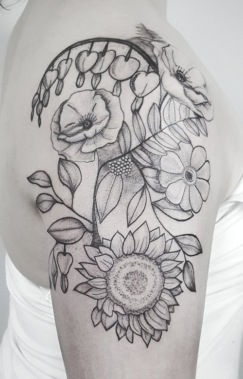 Custom Black and Gray Flowers Tattoo by Dani at Certified Tattoo Studios Denver Co.jpeg