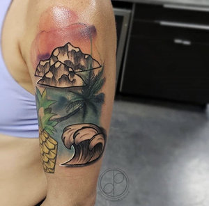 Custom Color Illustrative Beach Tattoo by DavidP at Certified Tattoo Studios Denver Co.jpg