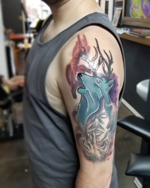 Custom Color Illustrative Deer and Person Tattoo by DavidP at Certified Tattoo Studios Denver Co.jpg