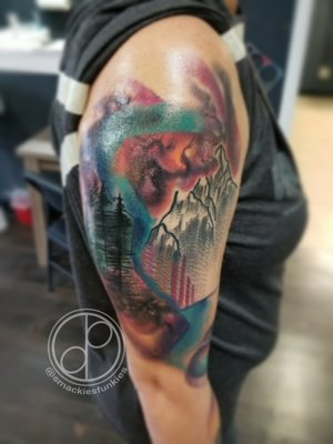 Custom Color Illustrative Mountain and Forest Tattoo by DavidP at Certified Tattoo Studios Denver Co.jpg