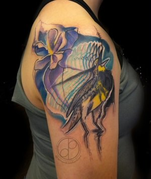 Custom Color Illustrative Screaming Bird and Flower Tattoo by DavidP at Certified Tattoo Studios Denver Co.jpg