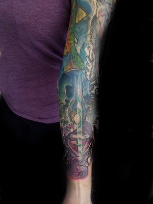 Custom Color Illustrative Sleeve Tattoo by DavidP at Certified Tattoo Studios Denver Co.jpg