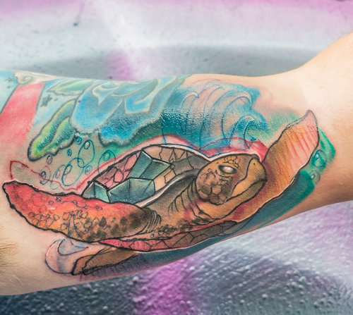 Custom Color Illustrative Sea Turtle Tattoo by DavidP at Certified Tattoo Studios Denver Co.jpg