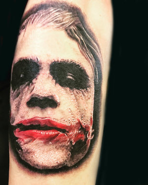 Custom Black and Gray Joker Tattoo by Ramon at Certified Tattoo Studios Denver Co.jpg