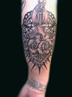 Custom Black and Gray Sacred Heart Tattoo by Ramon at Certified Tattoo Studios Denver Co.jpg